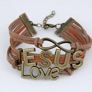 jesus Infinity Bracelet Brown wax c..