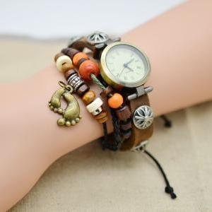 Infinity Leather Watch Bracelet foo..
