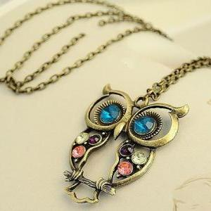 vintage jewelry necklace long owl c..