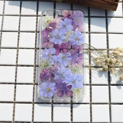 Purple Pressed Flower Case Real dri..