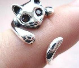 silver cat ring open..