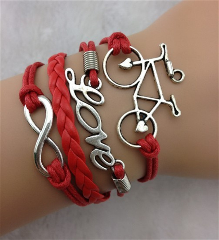 Vintage LOVE Bicycle Lucky 8 Infinity Bracelet Multiple ...