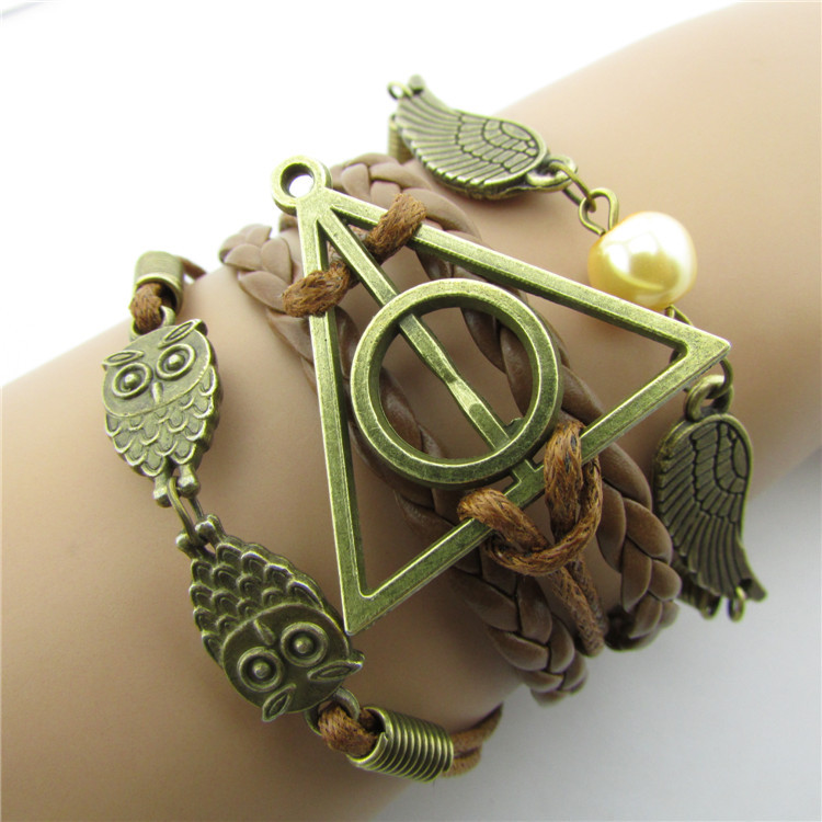 infinity vintage bracelet Harry Porter owl wing bracelet Brown wax cord Brown Braided Leather Antique Bronze Cute Personalized Jewelry friendship gift