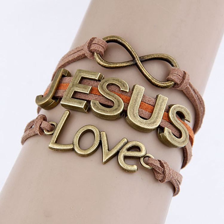 jesus Infinity Bracelet Brown wax cord Brown Braided Leather Antique Bronze Cute Personalized Jewelry friendship gift