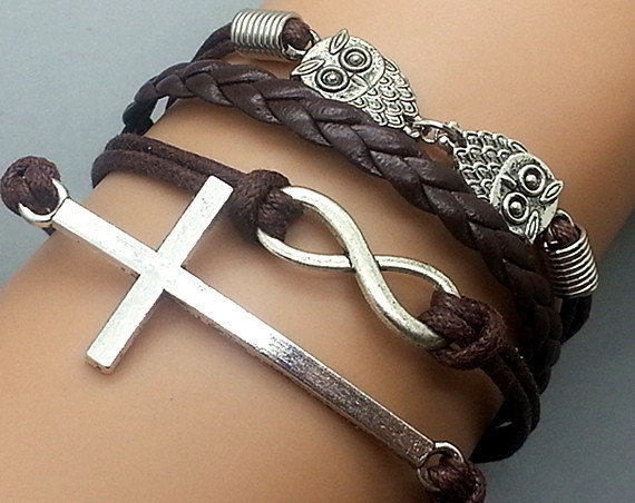 The ancient silver cross infinitesimal size owl brown wax rope leather rope strands of hand rope
