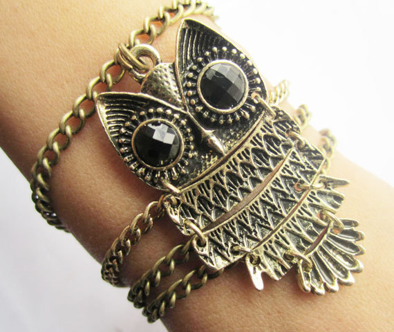 Antique Br Owl Bracelet Chain Infinity