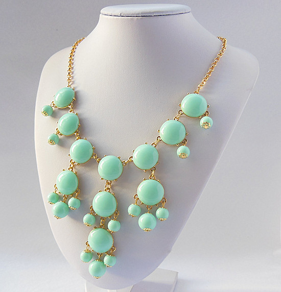 Handmade Bubble Necklace - Bib Necklace Candy fluorescence Gemstone Beads necklace free shipping