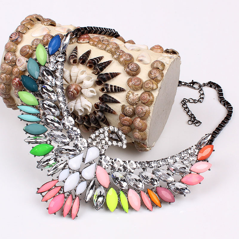 2014 New Arrival Bohemian Style Colorful Candy Crystal Rhinestone Chunky Statement Eagle Choker Necklaces free shipping