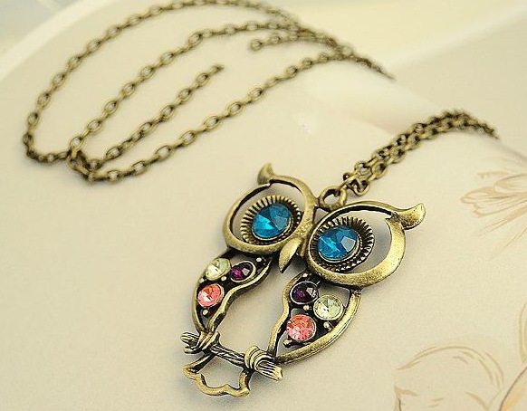 vintage jewelry necklace long owl chain