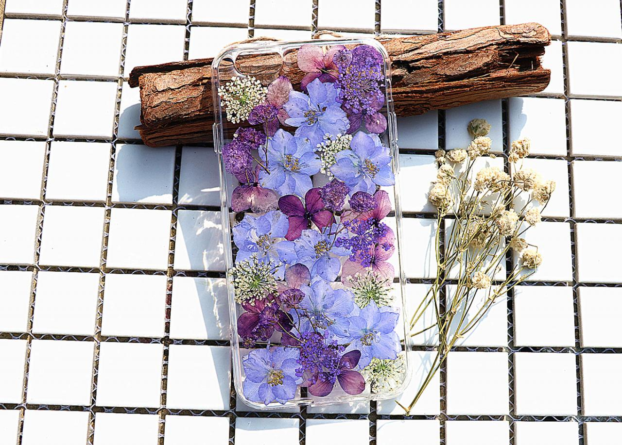 Purple Pressed Flower Case Real Dried Flowers Phone Case Iphone 7