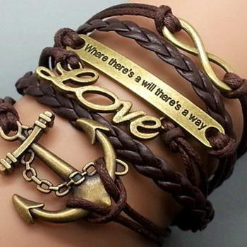 Anchor-love-Motto-Infinity Bracelet Brown wax cord Brown Braided Leather Antique Bronze Cute Personalized Jewelry friendship gift