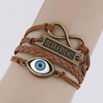 one eye -best friend-Motto-Infinity Bracelet Brown wax cord Brown Braided Leather Antique Bronze Cute Personalized Jewelry friendship gift