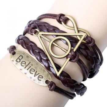 vintage bracelet Harry Porter believe-Motto-Infinity Bracelet Brown wax cord Brown Braided Leather Antique Bronze Cute Personalized Jewelry friendship gift
