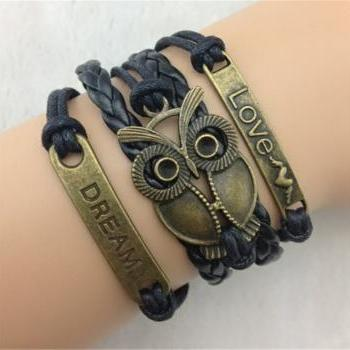 infinity vintage bracelet word love dream bracelet owl bracelet black wax cord black Braided Leather Antique Bronze Cute Personalized Jewelry friendship gift