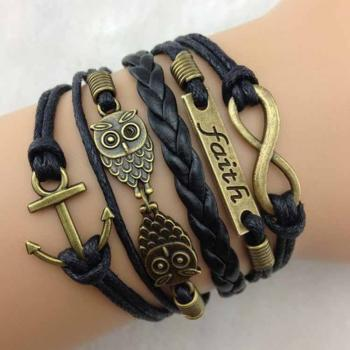 Anchor-faith-Motto-two owls Infinity Bracelet Black wax cord Black Braided Leather Antique Bronze Cute Personalized Jewelry friendship gift