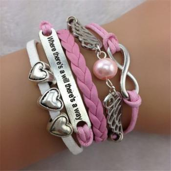 infinity vintage bracelet heart wing bracelet lucky 8 bracelet pink wax cord pink Braided Leather Antique Bronze Cute Personalized Jewelry friendship gift