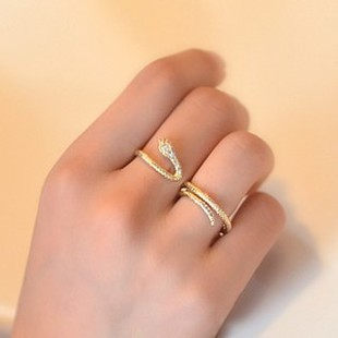Glam snake winding diamond ring Double finger ring can be adjusted ring