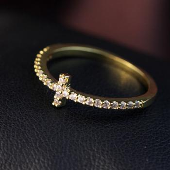 Micro crystal zircon cross ring