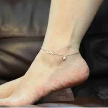 tiny lucky star anklet Plated 18K Rose Gold