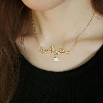 bird leaves necklace clavicular short chain necklace