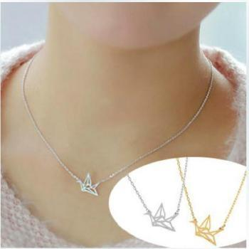 Origami necklace clavicular short chain necklace