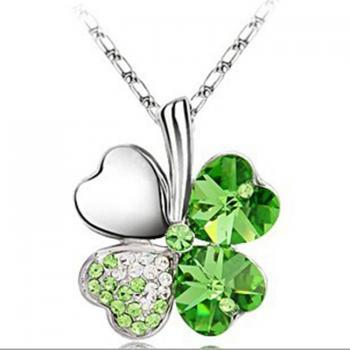 crystal clovers necklace,pendant necklace.6 colors for choice