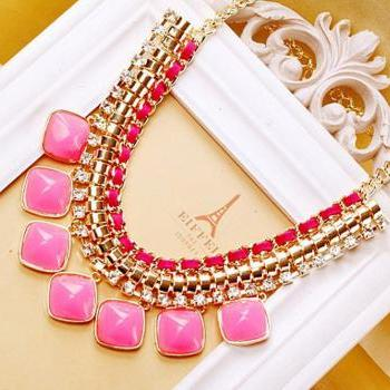 Luxury Fluorescent color diamond necklace Chrismas Gift Jewelry