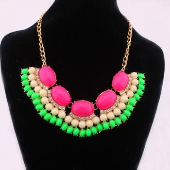 Fluorescent color diamond necklace sweet temperament all-match choker