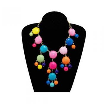 Handmade Bubble Necklace - Bib Necklace Candy fluorescence Gemstone Beads necklace