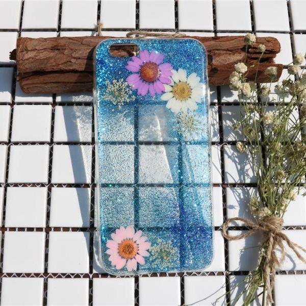 Bling bling blue Pressed Flower Case Real dried flowers phone case iphone 7 case iphone 7 plus case iphone 6 case iphone 6 plus case samsung s7 case samsung s6 case samsung note 5 case samsung note 4 case